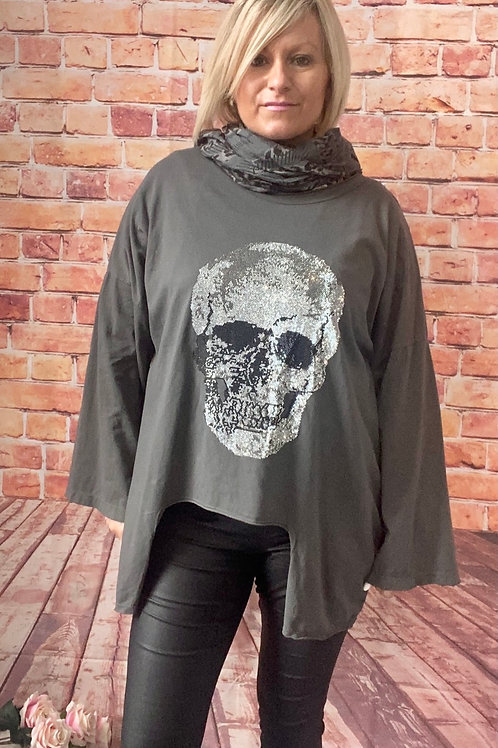 Charcoal quirky skull top, fits up to  size 20