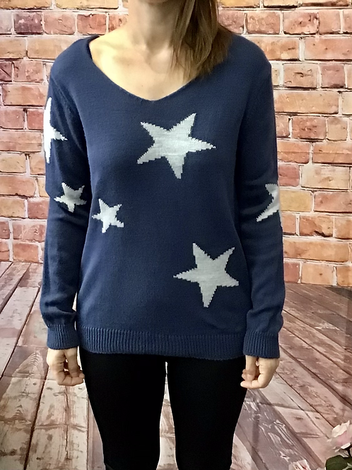 Navy knitted star pattern jumper, fitting sizes 8-12