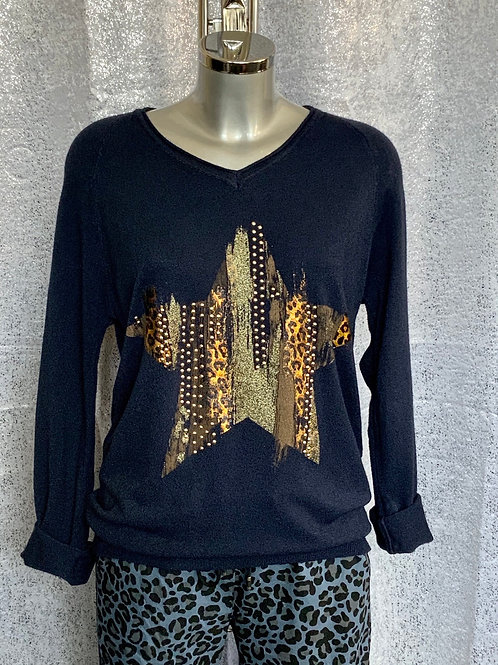 Navy animal print star jumper, fitting up to a size 14.     6004