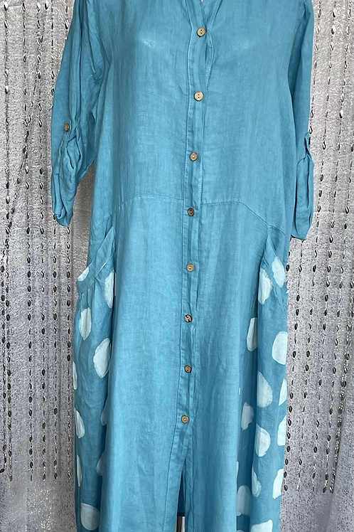 Turquoise Polly Linen Dress