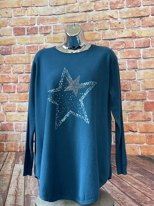 Teal Star in a Star soft knit jumper, fits sizes 12-18