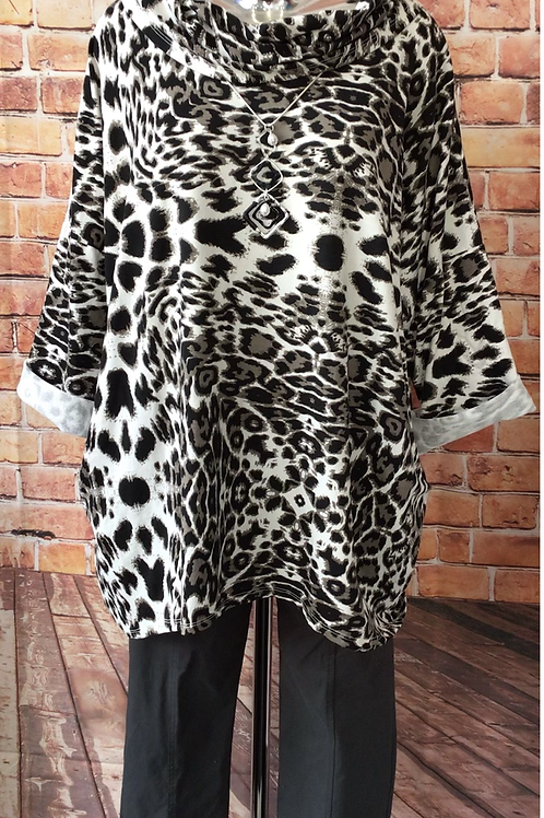 White Animal print slouch neck top