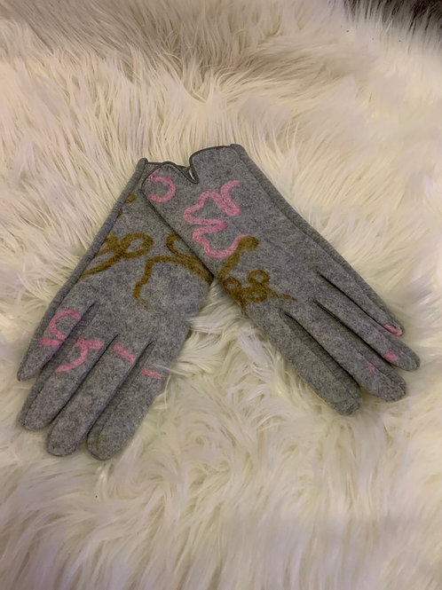 Grey gloves with multi colour felting detail