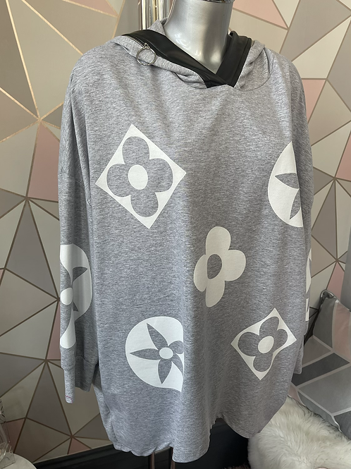 Grey Louis Vuitton inspired oversized top