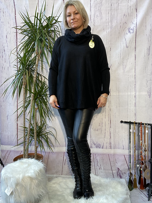 Black soft knit jumper with matching scarf. Fitting sizes 12-18 7262