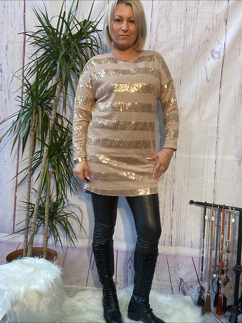 Mocha sparkly stretchy tunic, fitting up to a size 16.   9113