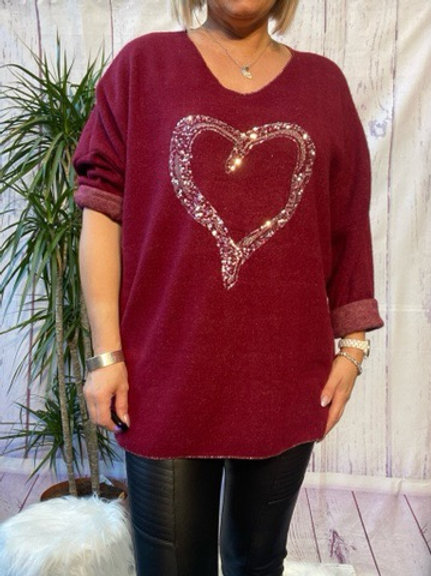 Wine super soft sequin heart top, fitting up to a size 22.   5111