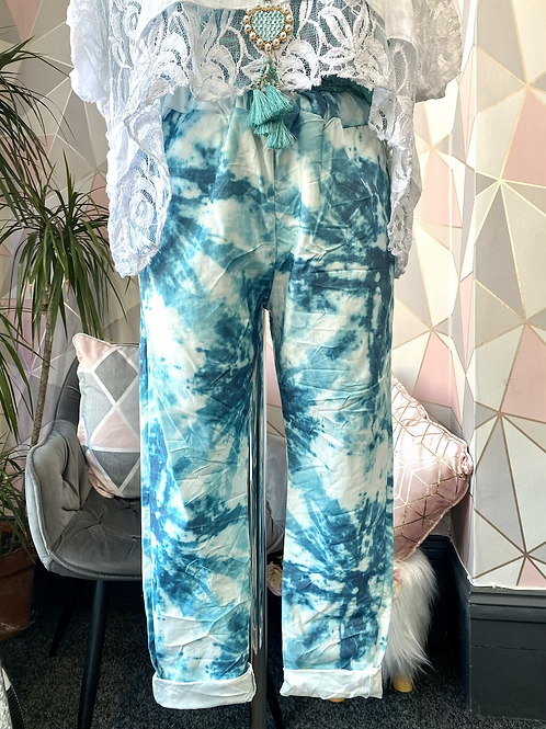 Turquoise Tie dye crushed magic pants fitting up to a size 18