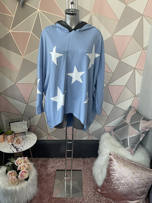 Blue stars hooded top fitting up to a size 22