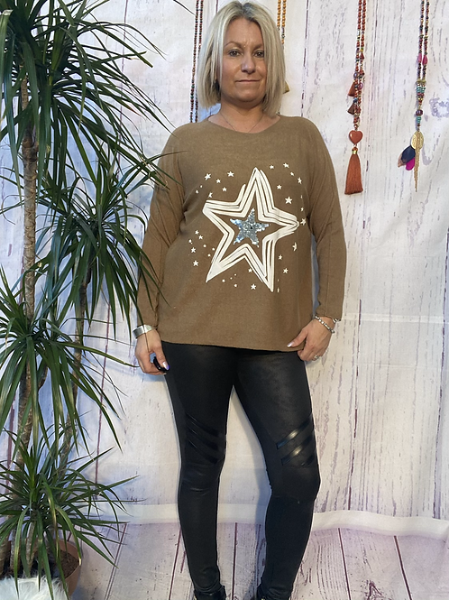 Camel starry jumper, fitting sizes 8-16.    12115
