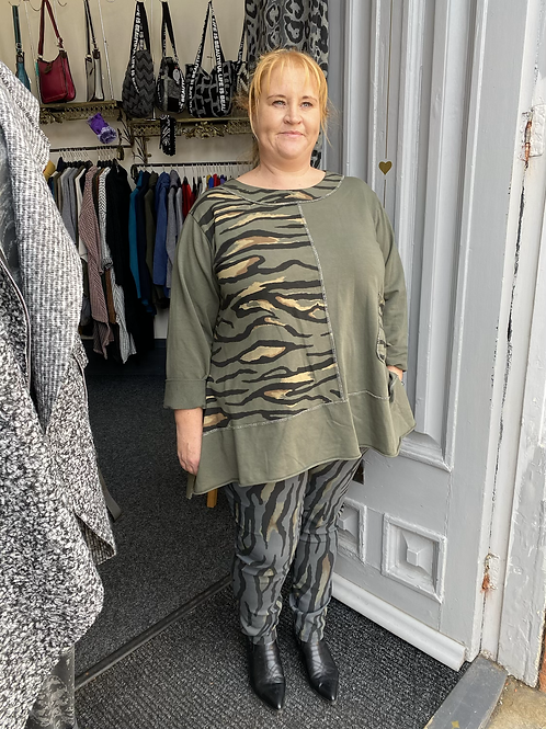Khaki tiger print top fitting up to a size 22