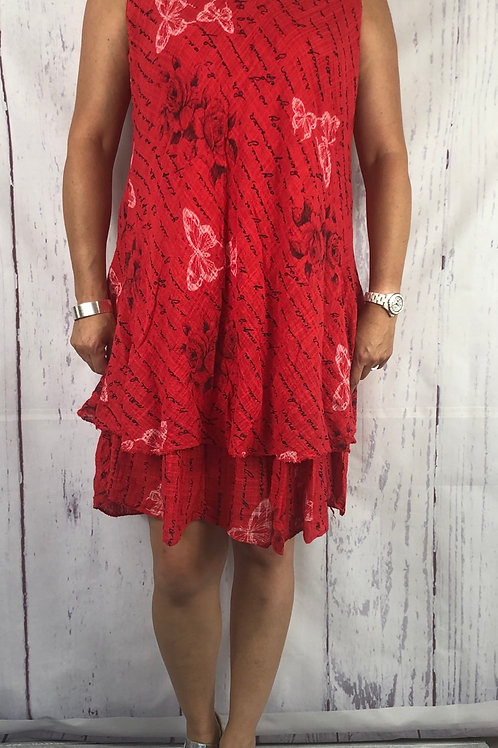 Red Butterfly Cotton Summer Dress fitting up to a size 18
