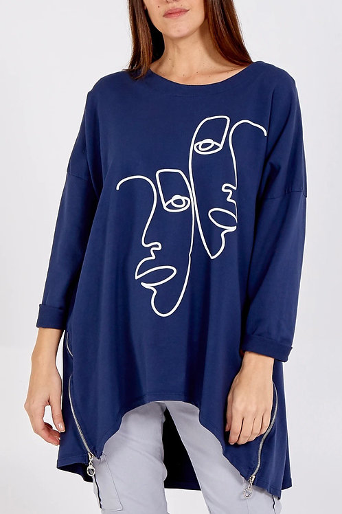 Navy Picasso inspired quirky zip detail top