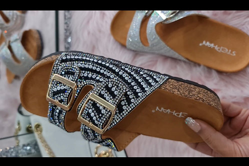 Vegas Black and Silver diamanté sandals