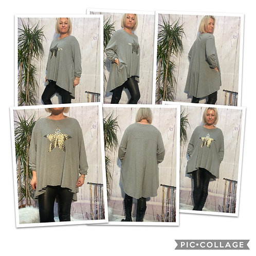 Grey animal print star long sleeved fan back top, fitting up to a size 24. 12083