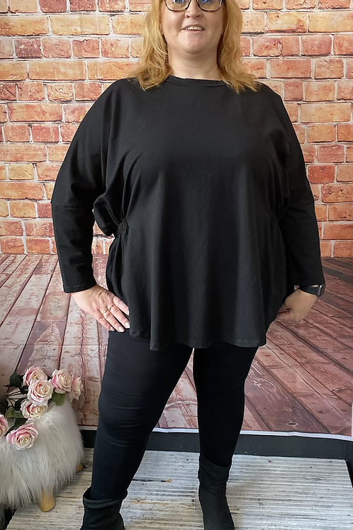 Black quirky elasticated top, fitting up to a size 22