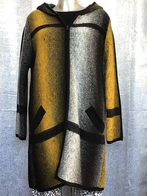Mustard hooded ombré knitted jacket, fitting up to a size 22.    16092