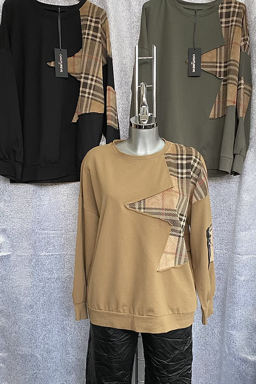 Camel Burberry Inspired sweatshirt fitting from a size 10 to 14