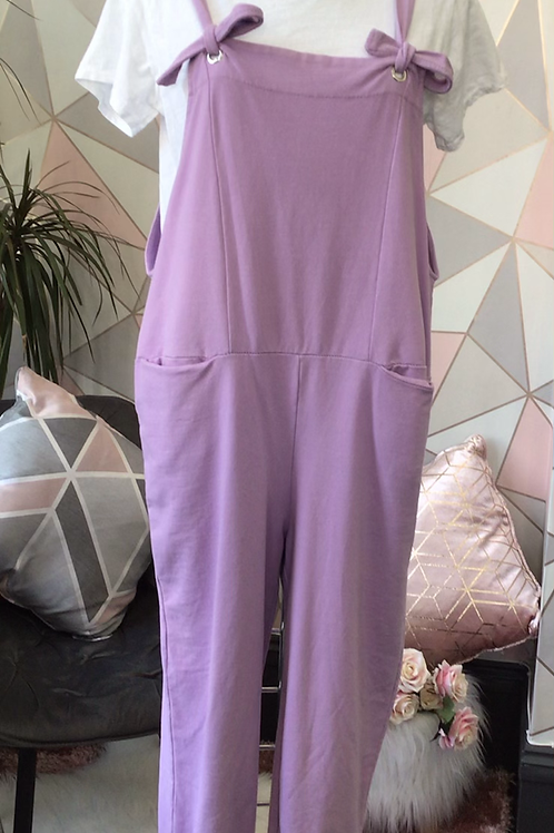 Lilac Italian Front Pockets Cotton  Dungaree