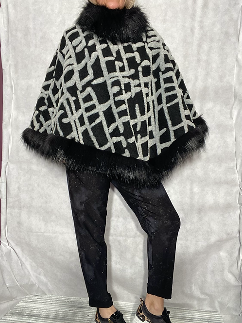 Milan faux fur and wool cape / poncho fitting up to a size 20 2902