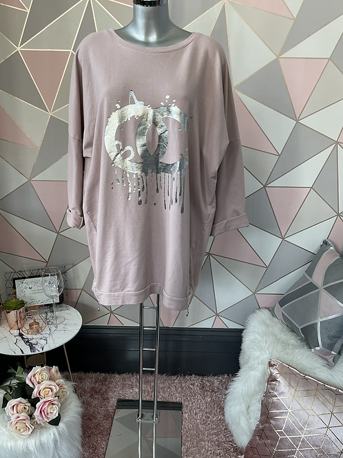Blush Chanel inspired drip sweat top fitting up to a size 18