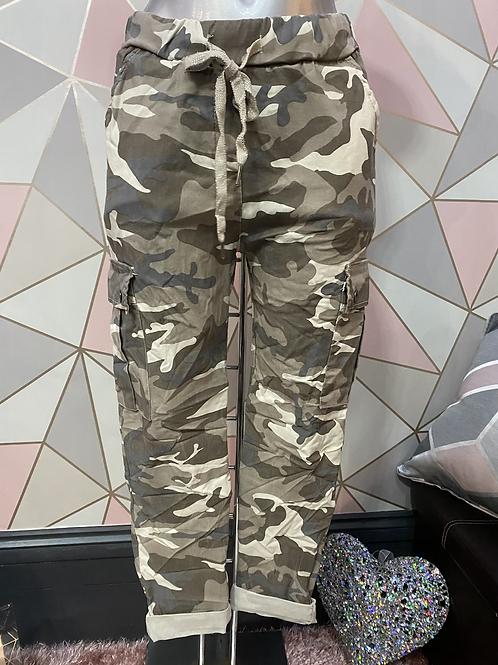 Beige cargo Magic  Stretch Crushed Trousers fitting 8-18