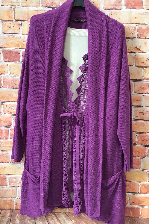 Purple Cardigan with lace style inlay