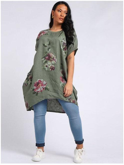 Khaki  Italian Floral Linen oversized tunic fitting size 18-26