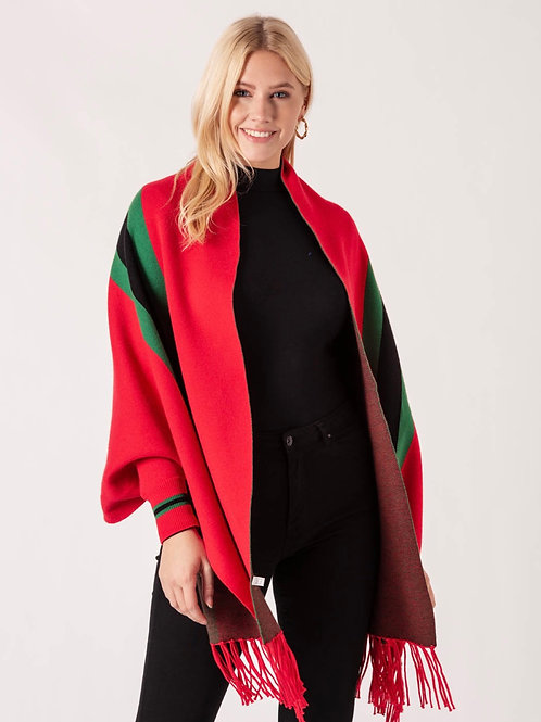 Gucci inspired red Stripe Shawl With Sleeves  one size