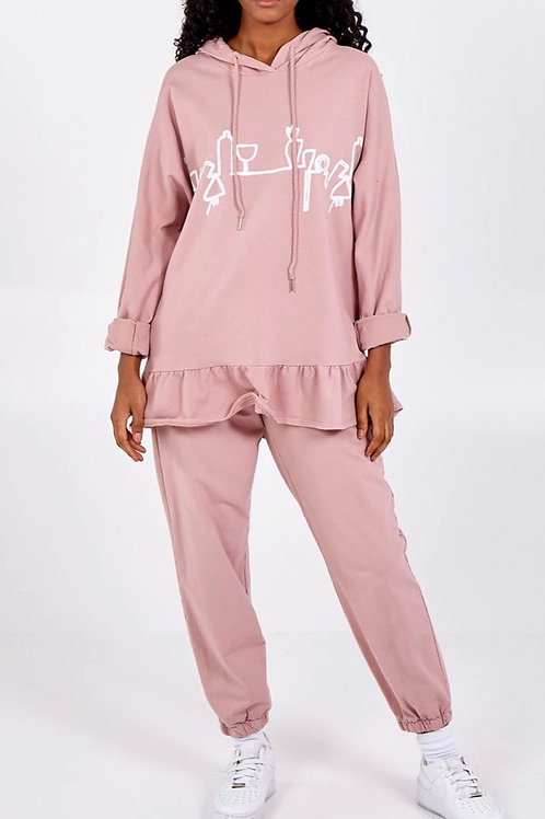 Pink Abstract Sweatshirt & Jogger Lounge Set fitting up to a size 22