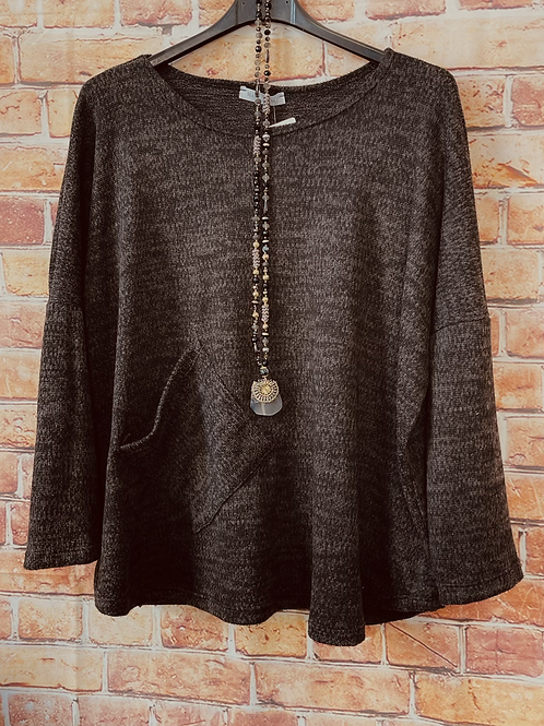 Black quirky one pocket top