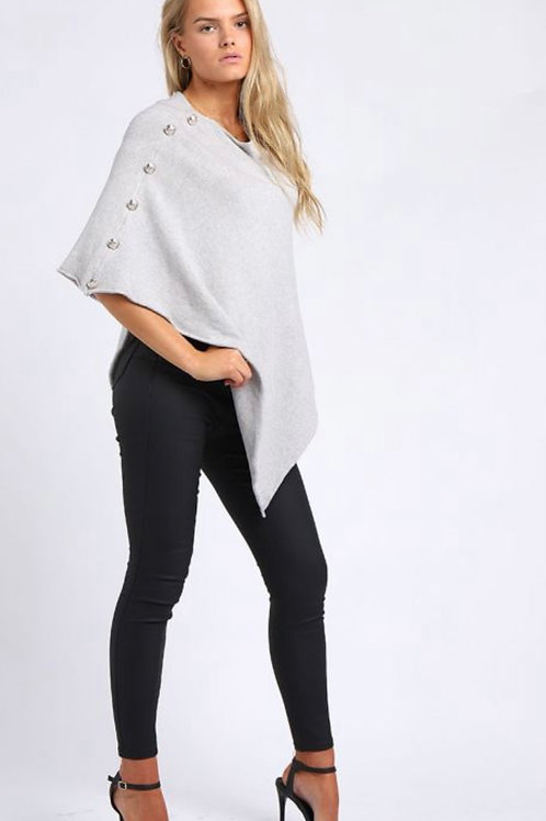 Grey Made In Italy Classy Buttoned Sleeves Plain Poncho