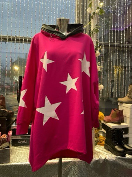 Cerise pink stars hooded top fitting up to a size 24