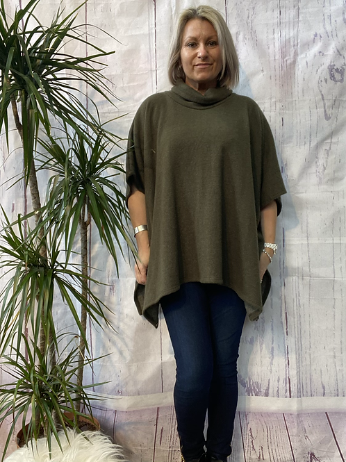 Khaki super soft poncho top fitting up to a size 22.    16119