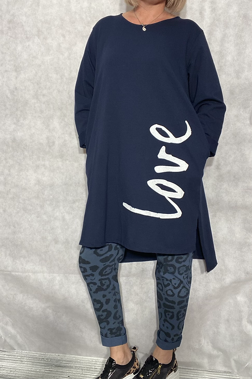 Navy Love top /tunic fitting up to a size 18.    2033