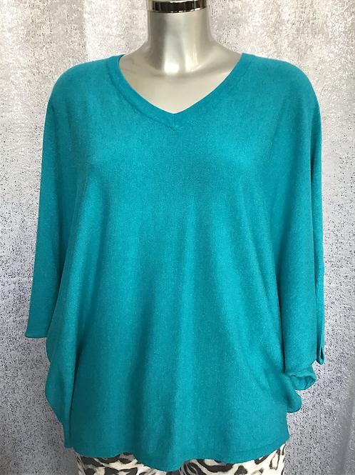 Teal soft knit superbelle jumper, fitting from a size 12-18.   7130