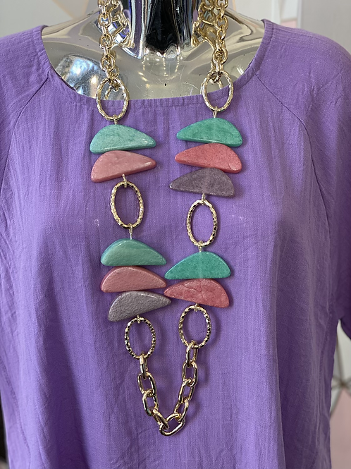 Chunky Teal Pink and Purple Necklace