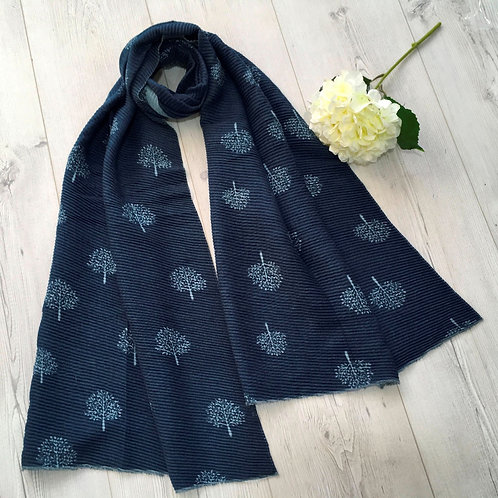 Navy and Duck Egg mulberry tree scarf
