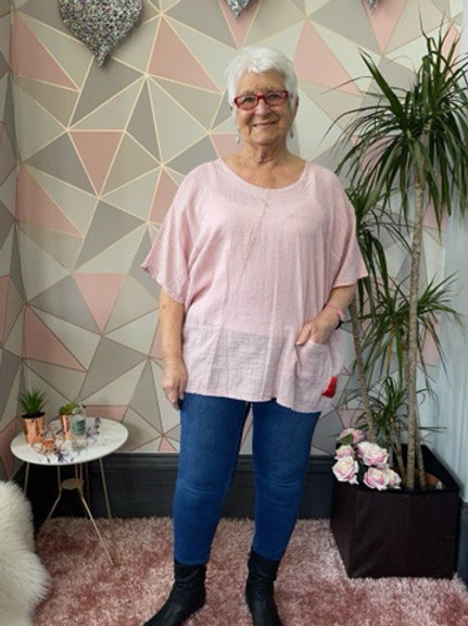 Pink red label cotton top, fitting up to a size 22