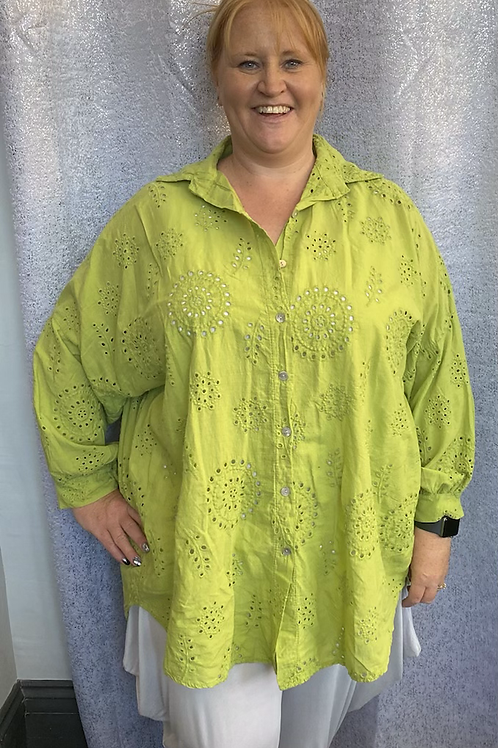 Lime Broidery Anglaise Shirt, fitting up to a size 24