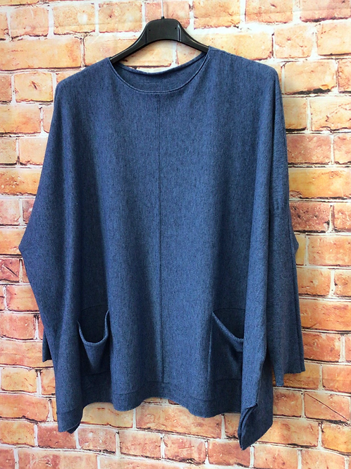 Blue jumper with front pockets