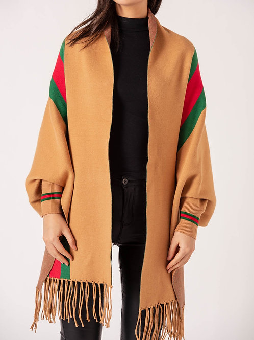 Gucci inspired Tan Stripe Shawl With Sleeves  one size