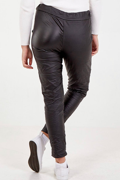 Black leather look trousers fitting up to a size 18