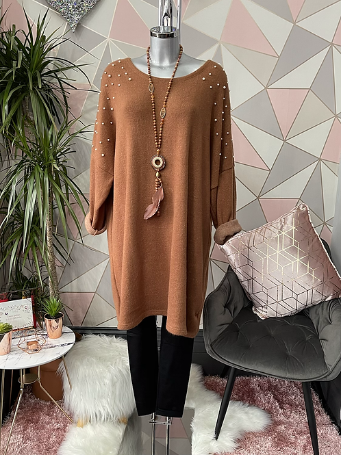 Tan super soft tunic, fitting up to a size 22.     19813