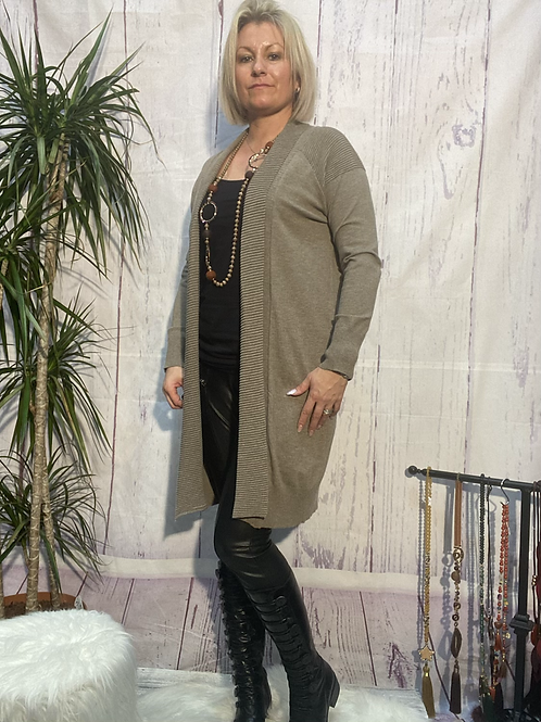 Soft mocha Cardigan fitting up to a size 16