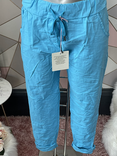 Turquoise  Magic Plain Super Stretch Crushed Trousers fitting 8-18