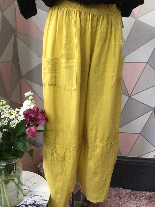 Mustard linen full length quirky pocket trousers