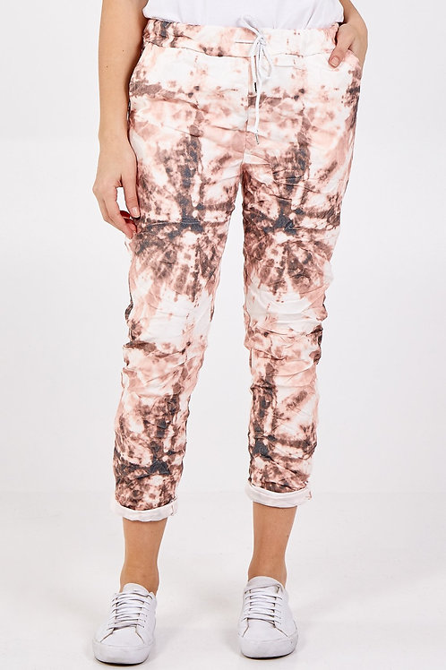 Peach Tie dye crushed magic pants fitting up to a size 18