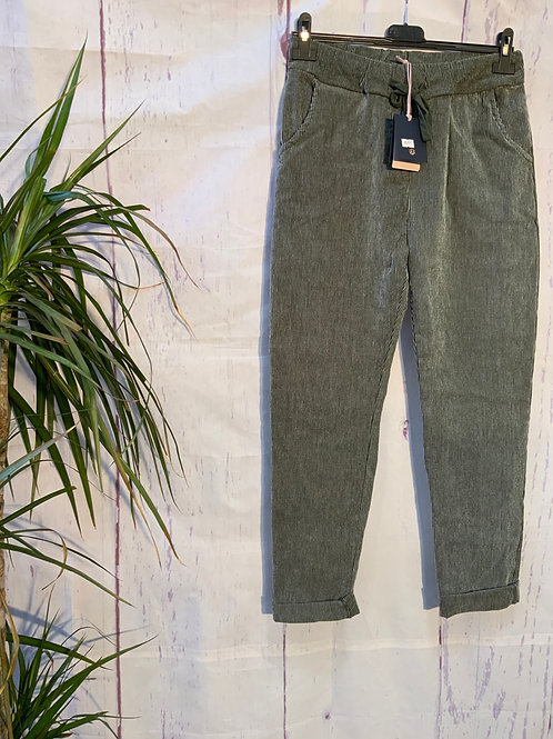 Khaki fine cord magic joggers fitting 10-18