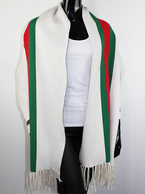 Gucci inspired white Stripe Shawl With Sleeves  one size